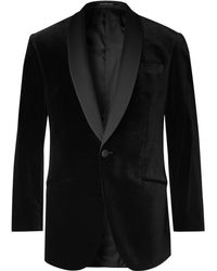 Richard James - Black Hyde Slim-fit Faille-trimmed Cotton-velvet Tuxedo Jacket - Lyst