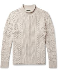 J.Crew - Cable-knit Cotton Rollneck Sweater - Lyst