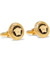 Versace - Medusa Gold-tone And Enamel Cufflinks - Lyst