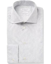 Richard James - White Slim-fit Cutaway-collar Printed Cotton-poplin Shirt - Lyst