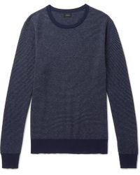 J.Crew - Mélange Cotton-piqué And Cashmere-blend Sweater - Lyst