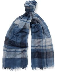 Begg & Co | Filigree Checked Cashmere-gauze Scarf | Lyst