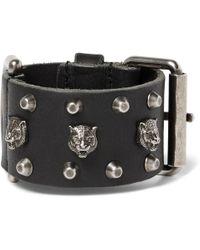 Gucci - Tiger-embellished Leather Bracelet - Lyst