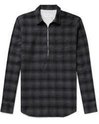 Officine Generale - Cotton-flannel Half-placket Shirt - Lyst
