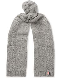 Thom Browne - Cable-knit Wool And Mohair-blend Scarf - Lyst