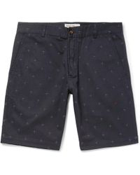 Universal Works - Embroidered Cotton-twill Shorts - Lyst