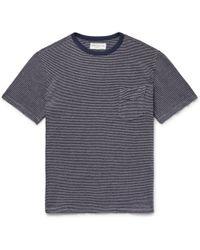 Officine Generale - Striped Cotton And Linen-blend Jersey T-shirt - Lyst