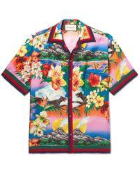 Gucci - Camp-collar Grosgrain-trimmed Floral-print Silk Satin-twill Shirt - Lyst
