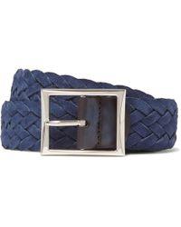 Berluti - 3.5cm Blue Woven Suede Belt - Lyst