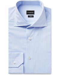 Ermenegildo Zegna - Light-blue Trofeo Slim-fit Cutaway-collar Pinstriped Cotton-poplin Shirt - Lyst