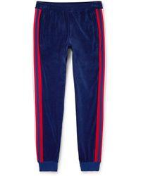 Gucci - Slim-fit Striped Cotton-blend Velour Sweatpants - Lyst