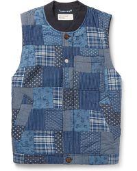Universal Works - Slim-fit Indigo-dyed Patchwork Printed Cotton Gilet - Lyst