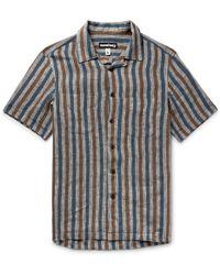 Monitaly - Camp-collar Striped Linen Shirt - Lyst