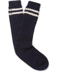 The Elder Statesman - Yosemite Striped Ribbed Cashmere Socks - Lyst