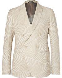 Giorgio Armani - Cream Ginza Double-breasted Jacquard Blazer - Lyst