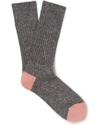 Anonymous Ism - Mélange Ribbed-knit Socks - Lyst