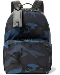 Valentino - Garavani Leather-trimmed Camouflage-print Nylon Backpack - Lyst
