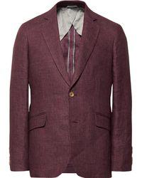 Hackett - Burgundy Mayfair Prince Of Wales Checked Linen Blazer - Lyst