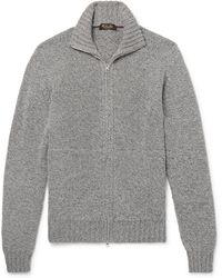 Loro Piana - Mélange Baby Cashmere Zip-up Cardigan - Lyst