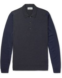 John Smedley - Hindlow Two-tone Merino Wool Sweater - Lyst