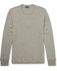 Tom Ford - Mélange Cotton-jersey Henley T-shirt - Lyst