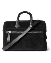 Tom Ford - Leather-trimmed Suede Briefcase - Lyst