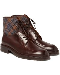 Etro | Checked Felt-panelled Leather Boots | Lyst