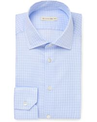 Etro - Light-blue Slim-fit Cutaway-collar Checked Cotton Shirt - Lyst