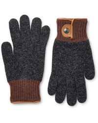 Oliver Spencer - Cross Country Leather-trimmed Wool-blend Gloves - Lyst