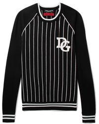 Dolce & Gabbana - Appliquéd Striped Cotton-blend Jumper - Lyst