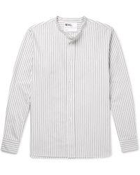 Margaret Howell - Mhl Grandad-collar Striped Cotton Shirt - Lyst