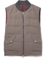 Brunello Cucinelli - Reversible Houndstooth Wool And Cashmere-blend Quilted Down Gilet - Lyst