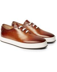 Santoni - Burnished-leather Trainers - Lyst
