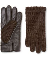 Oliver Spencer - Monocle Wool-blend And Leather Gloves - Lyst
