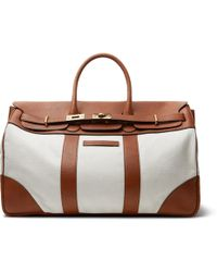 Brunello Cucinelli - Canvas And Full-grain Leather Holdall - Lyst