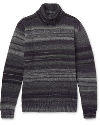 Altea - Striped Wool-blend Rollneck Jumper - Lyst