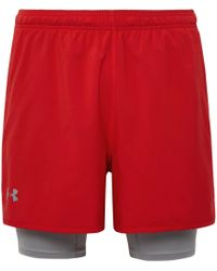 Under Armour - Qualifier 2-in-1 Shell And Stretch-jersey Shorts - Lyst