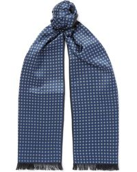 Brioni - Reversible Fringed Floral-print Silk And Cashmere Scarf - Lyst