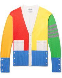 Thom Browne - Fun Mix Slim-fit Colour-block Striped Cashmere Cardigan - Lyst