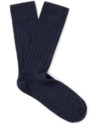 John Smedley - Omega Ribbed Merino Wool-blend Socks - Lyst