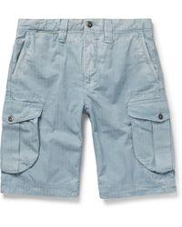 Incotex - Herringbone Washed-cotton Cargo Shorts - Lyst