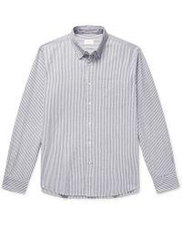 Club Monaco - Slim-fit Striped Cotton-seersucker Shirt - Lyst