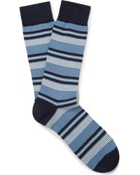 Pantherella - Striped Sea Island Cotton-blend Socks - Lyst