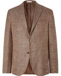 Boglioli - Brown Unstructured Virgin Wool, Silk And Linen-blend Blazer - Lyst