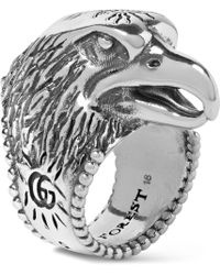 Gucci - Eagle's Head Sterling Silver Ring - Lyst