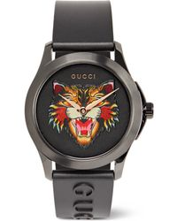 Gucci - 38mm Angry Cat Blackened Stainless Steel And Rubber Watch - Lyst