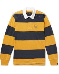 Rag & Bone - Logo-embroidered Twill-trimmed Striped Cotton-jersey Polo Shirt - Lyst