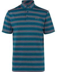Under Armour - Playoff Striped Stretch-jersey Golf Polo Shirt - Lyst