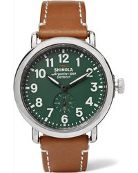 Shinola - The Runwell 41mm Stainless Steel And Leather Watch - Lyst