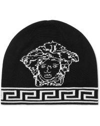 f27b230b Versace Logo Beanie in Black for Men - Lyst